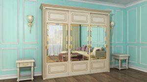 Шкаф купе с фрезеровкой и зеркальным панно Норильск