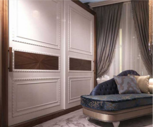 Шкаф купе с эмитацией филенки и фигурной накладкой, ламинация, шпон, эмаль Норильск