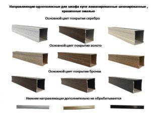 Направляющие однопосные для шкафа купе ламинированные, шпонированные, крашенные эмалью Норильск